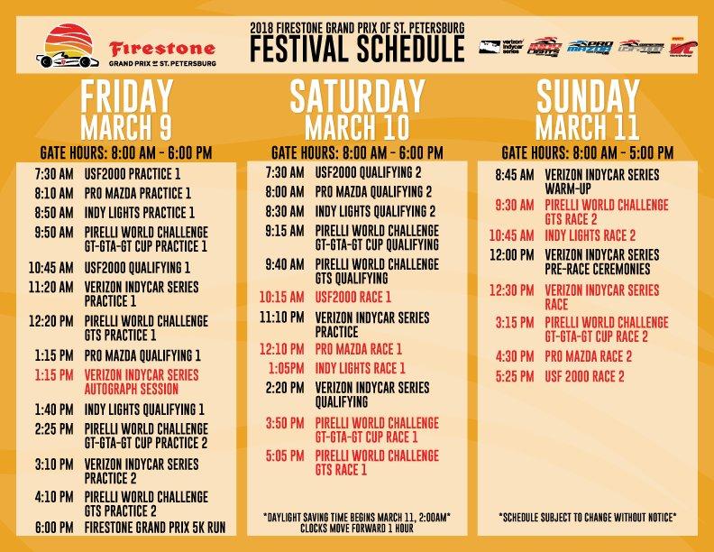 Firestone Hours Sunday >> Gpstpete On Twitter The 2018 Firestonegp Schedule Is