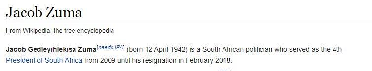 #ZumaResigns Jacob Zumas Wikipedia already reflecting his resignation.