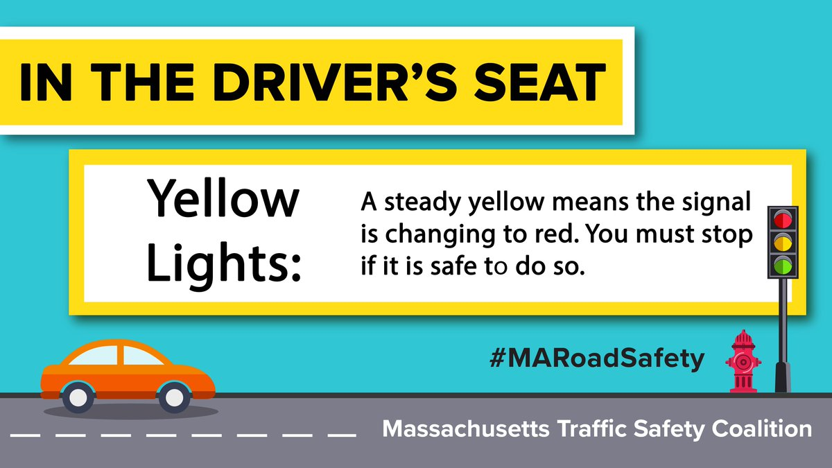 massachusetts rmv on twitter a steady yellow light means the