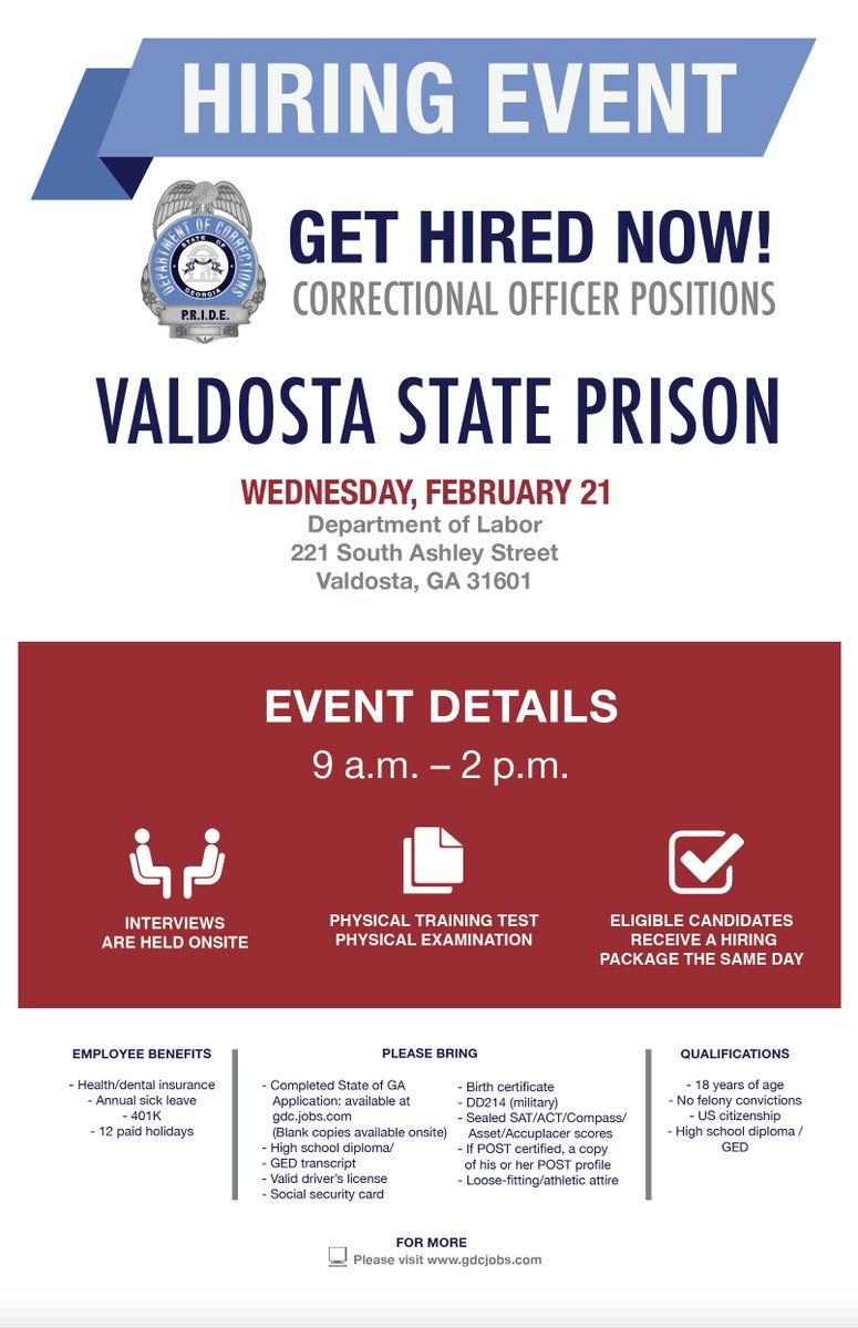 Georgia corrections gacorrections twitter looking to be hired youre in luck gdc will be hiring in valdosta on feb 21 see flyer for details ascaleadership walbnews10 thevdt valdostatoday aiddatafo Choice Image
