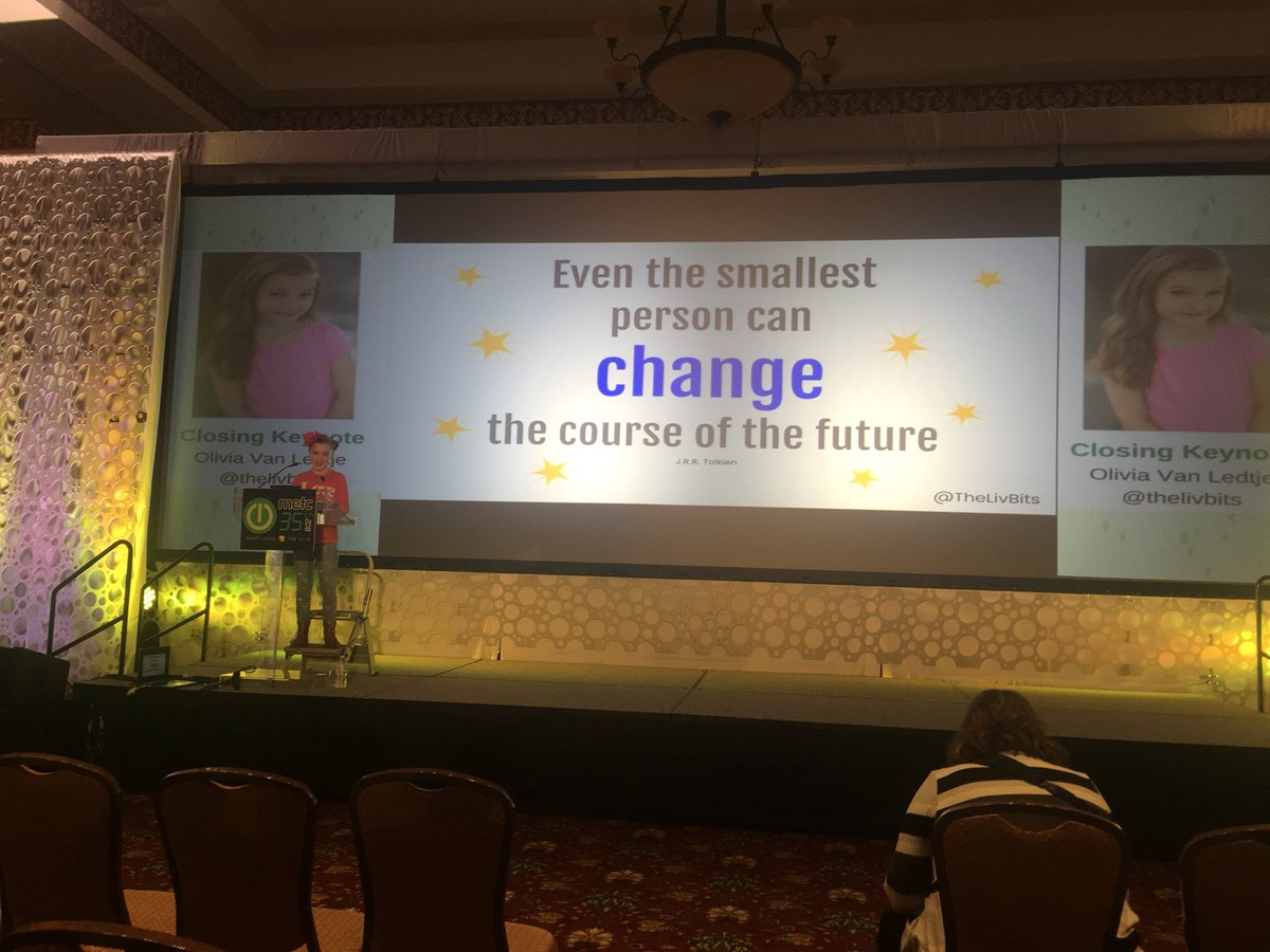 Enjoying the #METC18 closing keynote by Olivia Van Ledjte @thelivbits Special thanks to  #iste affiliate METC for a great conference!<br>http://pic.twitter.com/n4Xug9pOWf &ndash; à St. Charles Convention Center