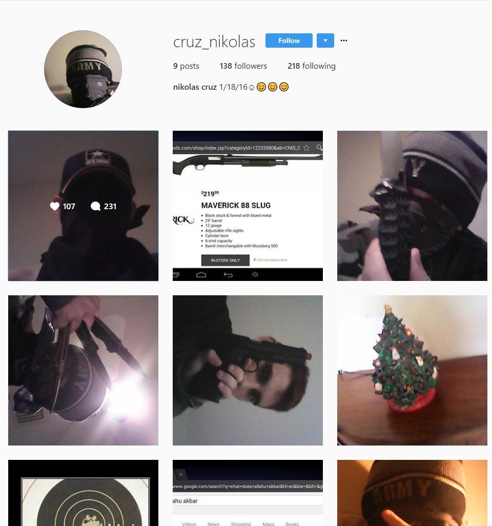 Nicolas de Jesus Cruz - Florida shooter Instagram page scrubbed