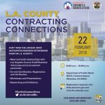 Attention #SmallBusiness owners: @LACoSmallBiz's Contracting Connections event is on February 22! Join us for workshops, presentations, certifications, and more. RSVP: https://t.co/7NyliriW7Z