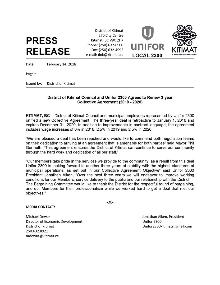 District Of Kitimat On Twitter Press Release Collective Agreement