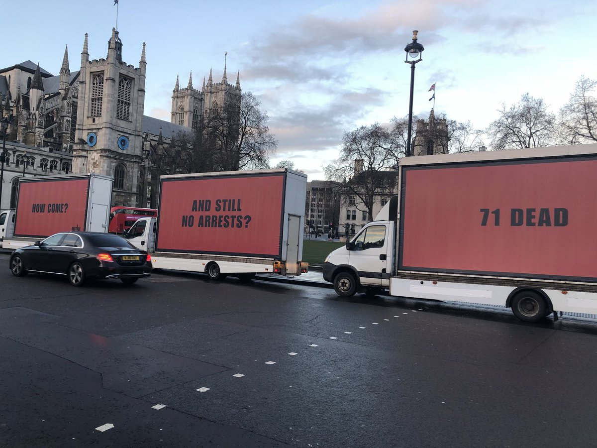 Three Billboards inspired a campaign demanding justice for fire that killed 71 people in London forecast