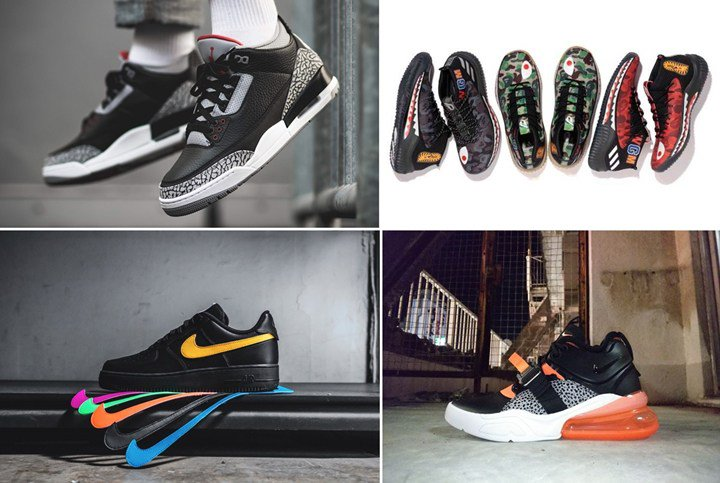 "new styles 29ef6 05543 (NIKE AIR JORDAN 3 RETRO OG ""Black Cement"")(A BATHING APE × adidas Dame 4  ""BAPE Pack"")(AIR FORCE 1 LOW All Star 2018 ""SWOOSH FLAVORS"")(AIR MAX 270  ""Safari"") ..."