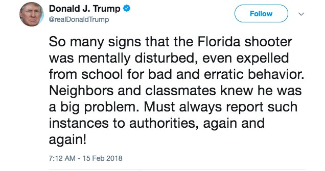 Image result for Trumps tweets about Florida shooting