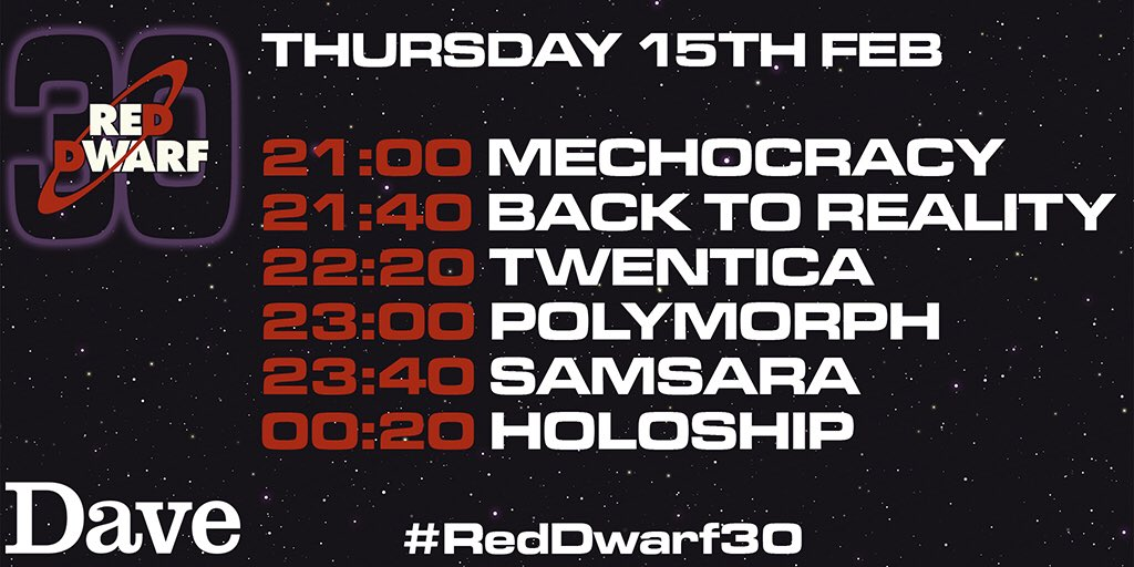 RT @RedDwarfHQ: Tonight on @davechannel, it's a celebratory Dwarf-fest for #RedDwarf30 - six of the absolute best! https://t.co/7Yg7Cl3O7X