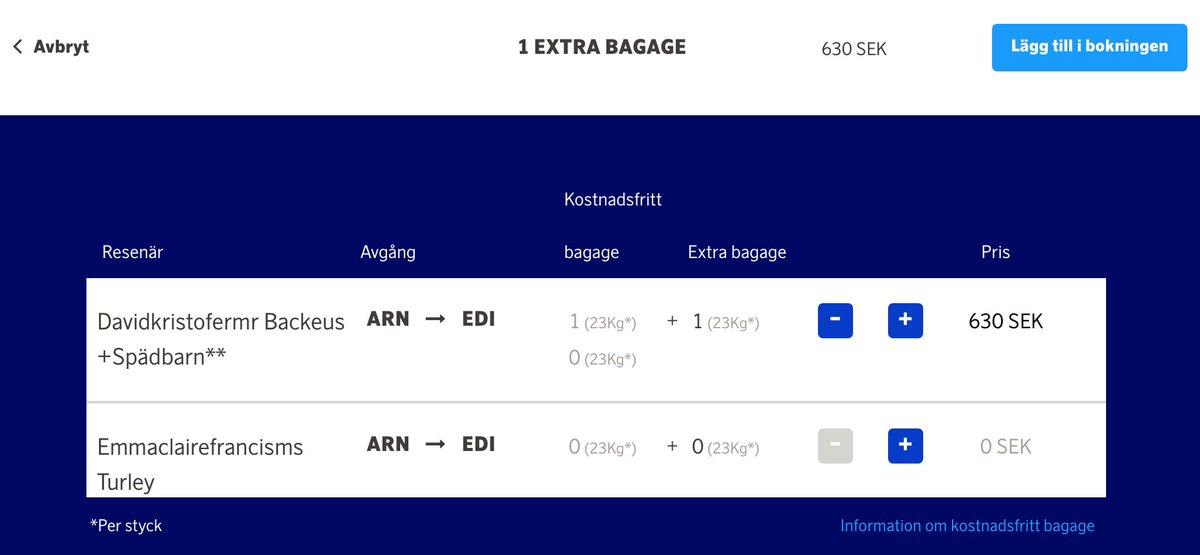 sas extra bagage