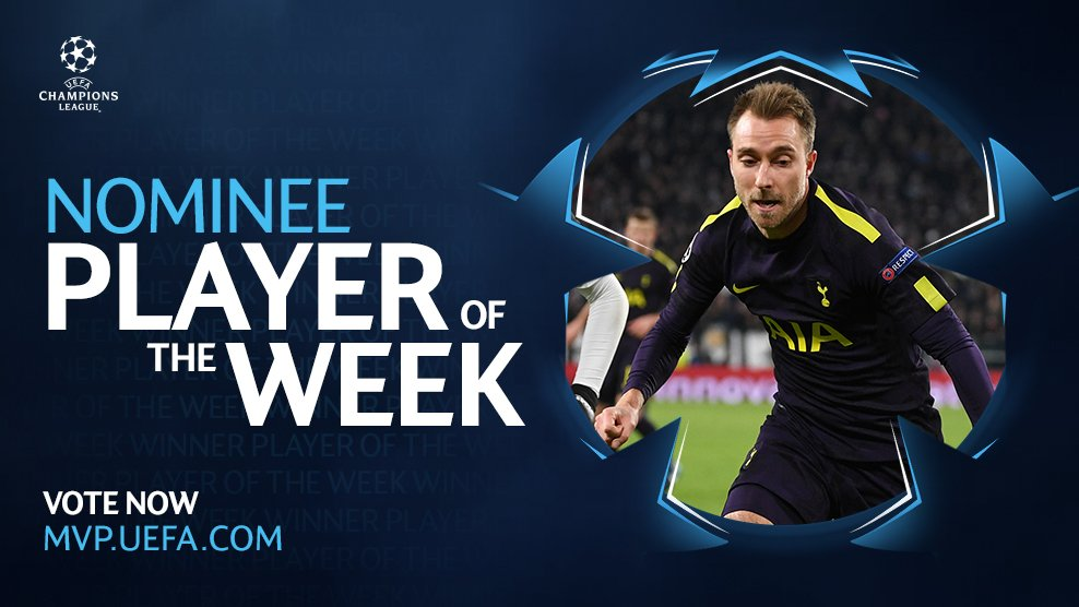 A dazzling display 🔥  @ChrisEriksen8 has been nominated for @ChampionsLeague Player of the Week.  🗳️ VOTE NOW - spurs.to/ChristianUCLPO…  #COYS