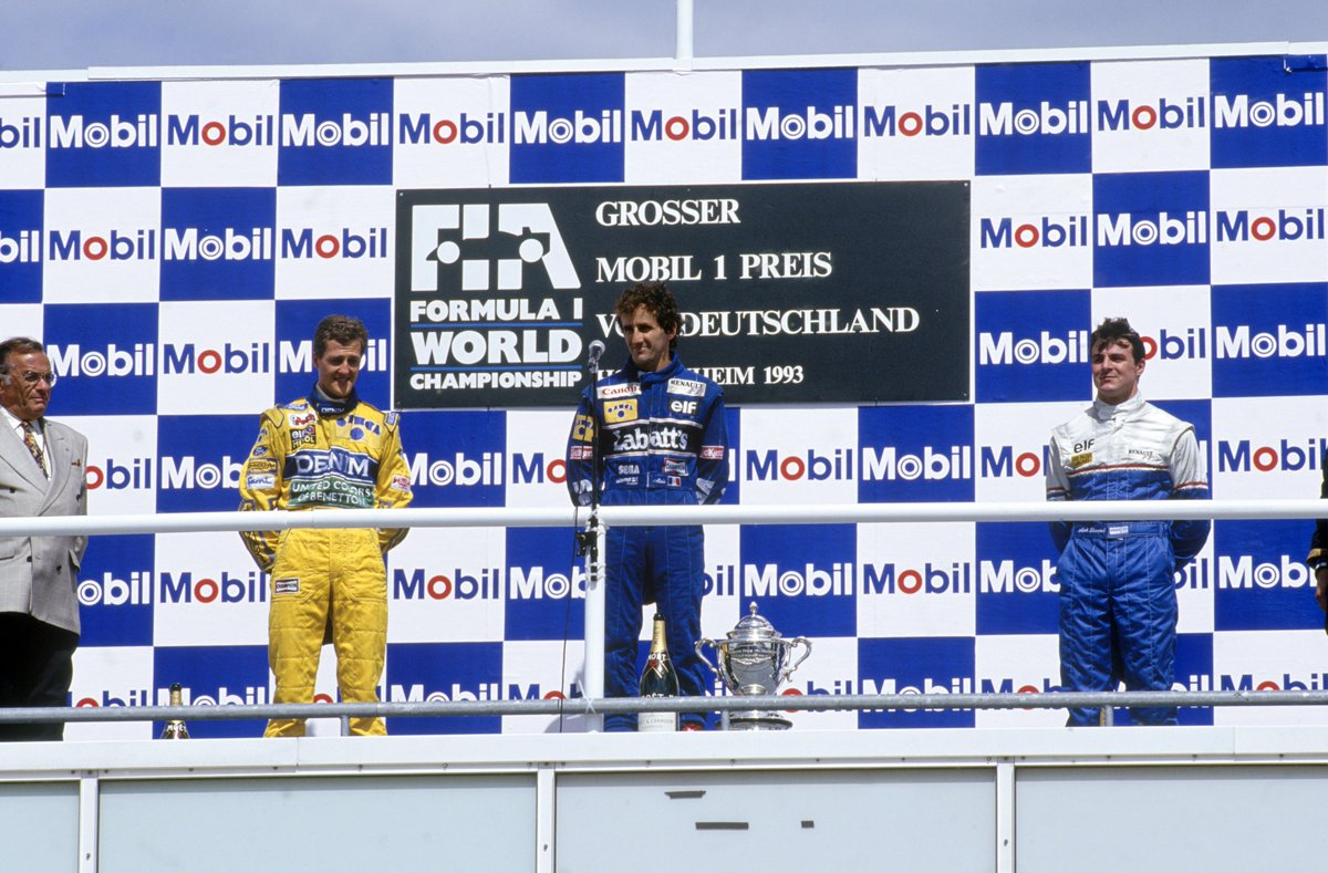 3⃣8⃣ DAYS TO LIGHTS OUT ⏳  Alain Prosts last #F1 win came at the age of 3⃣8⃣  Here he is on top of the podium for the 51st and final time - following victory at the 1993 German Grand Prix 🏆  #F1FastFact #Unleash2018