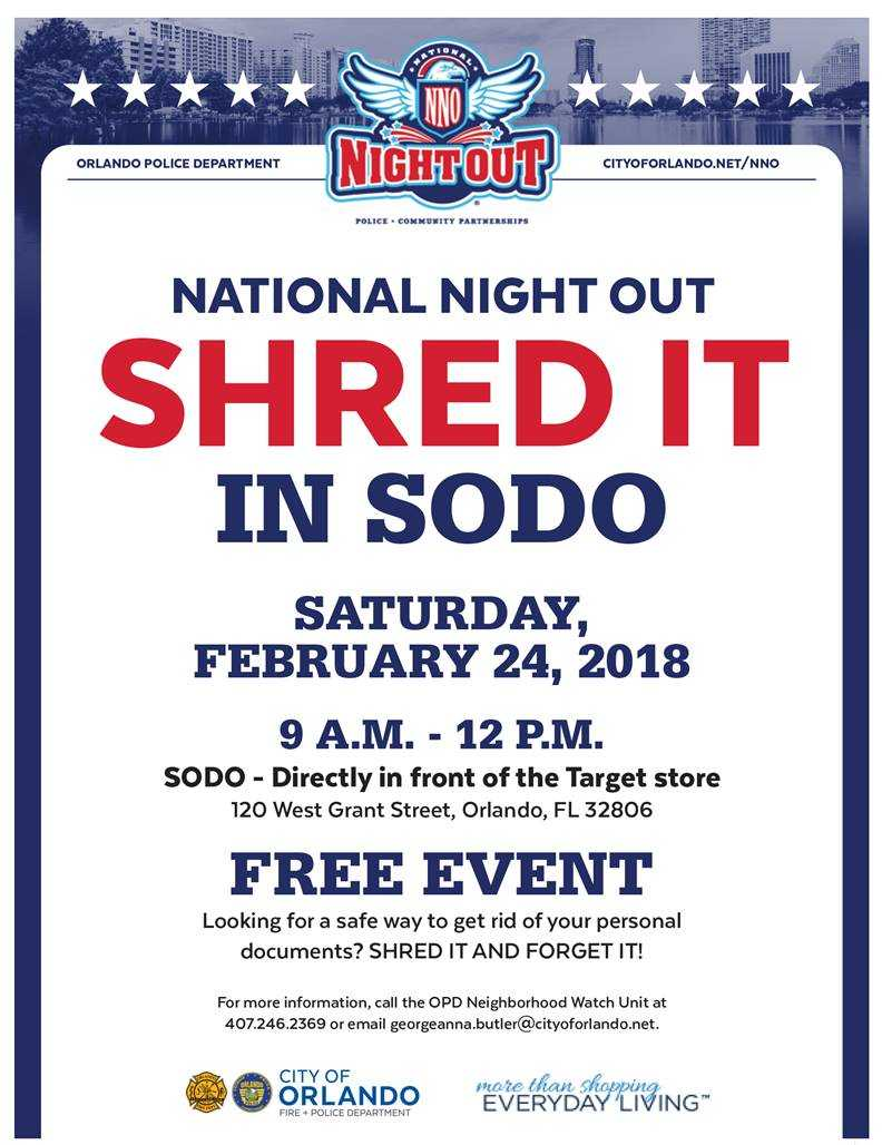 Free shredding Saturday, February 24, 9 a.m. to noon, in front of the @TheSoDoDistrict @Target store. @citybeautiful Come on down and safely dispose of those documents.