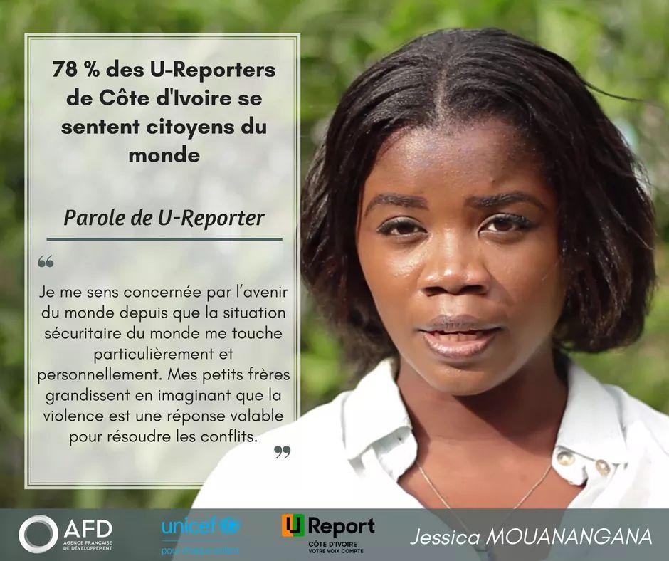 Jessica, U-Reporter en #cotedivoire et #citoyenne du monde comme 78% des jeunes ayant répondu au sondage! @AFD_France @UNICEF_CIV @UNICEF_france  #CitoyenDuMonde  - FestivalFocus