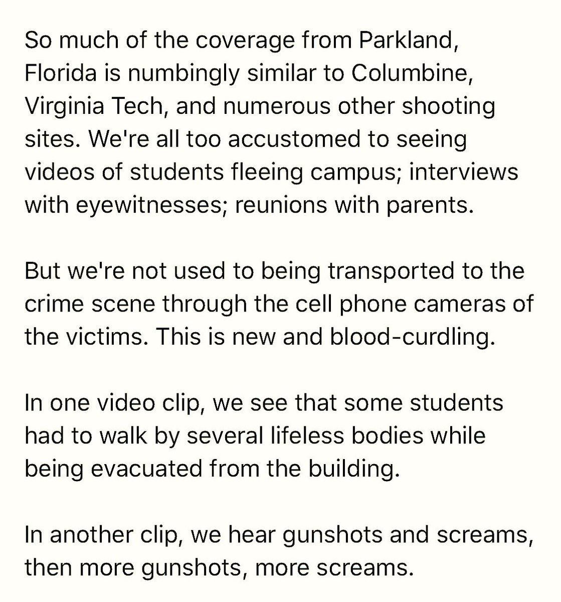 In one of the videos from Parkland, we see that some students had to walk by several lifeless bodies while being evacuated from their school.  https://t.co/wB5PQzaynx