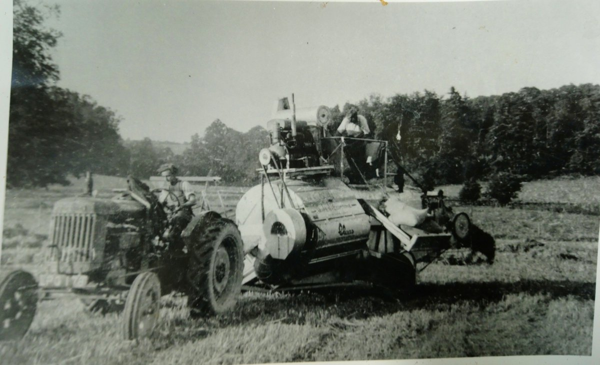 Today's trip down memory lane is in the form of vintage agricultural equipment. We're not sure when this photo was taken at Loseley but guess it is 1940s/1950s. It shows a tractor pulling a piece of Claas machinery - possibly cutting silage? #ThrowbackThursday