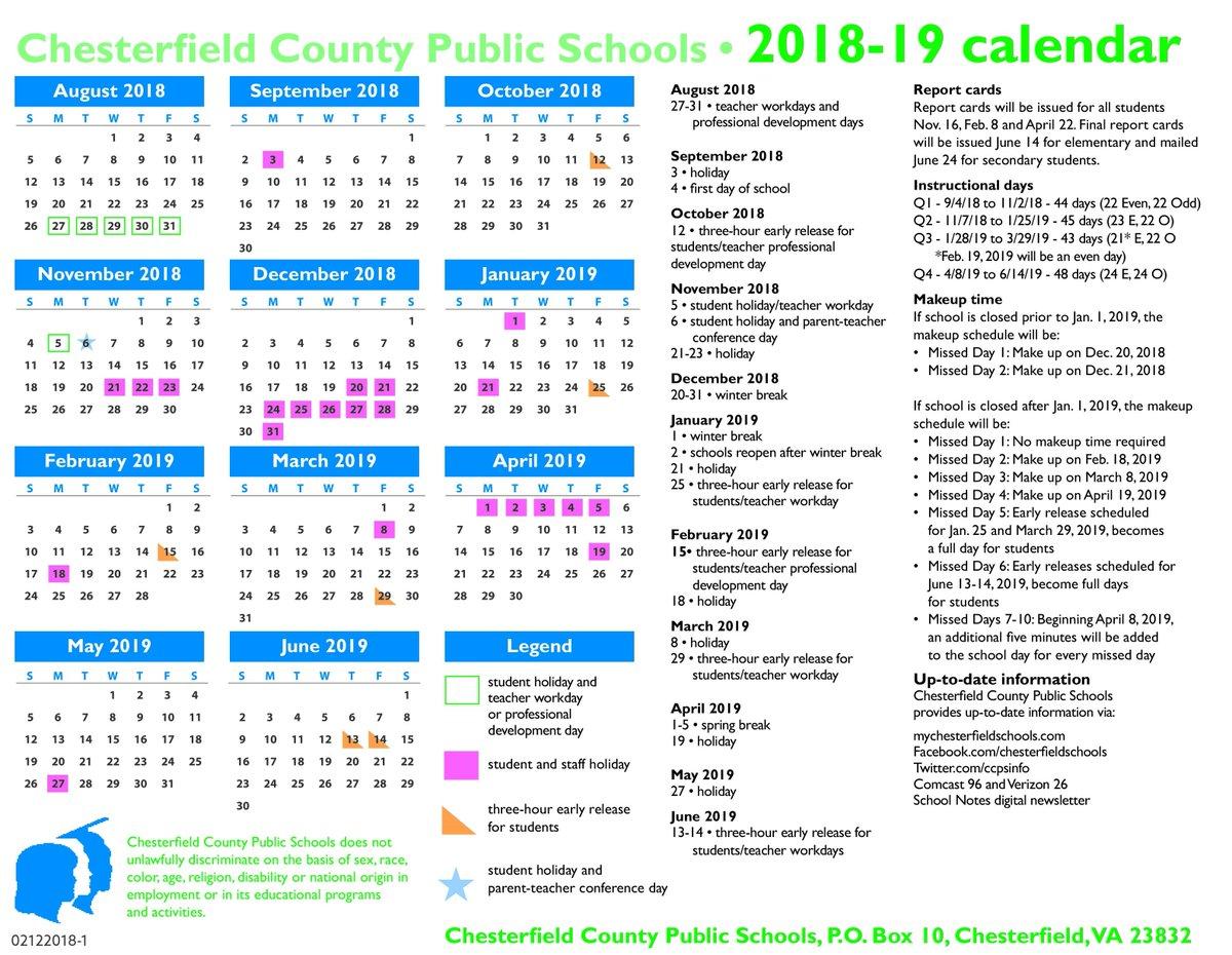 Chesterfield County School Calendar 2019 Chesterfield Schools on Twitter: