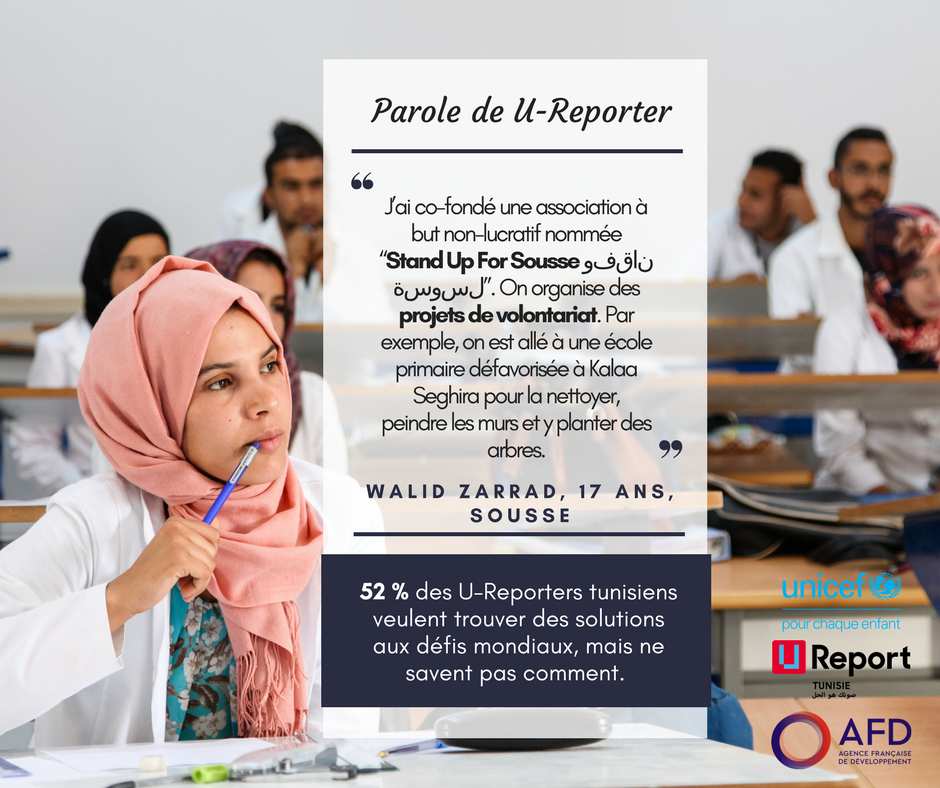 Tu veux trouver une solution aux défis mondiaux? Inspire-toi de Walid, jeune U-Reporter en #Tunisie qui s\