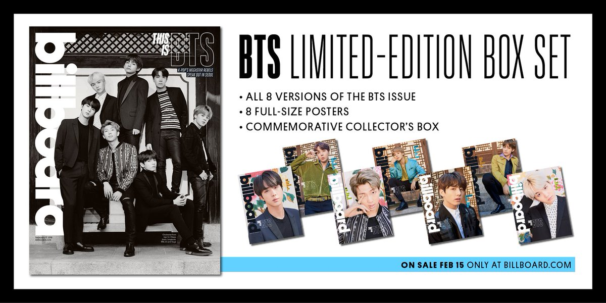 Purchase our exclusive BTS Limited-Edition Box Set (complete with ALL 8 versions of the BTS issue!) #BTSonBillboard https://t.co/RTPN2uDISf