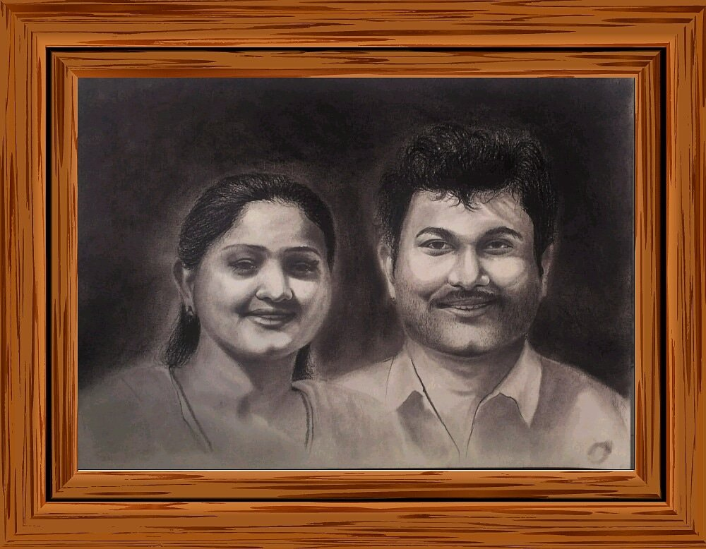 Portraitsketch gift vizag handdrawn portrait anniversarygift birthday personalized handmade customised oilpainting artstudio artist realistic