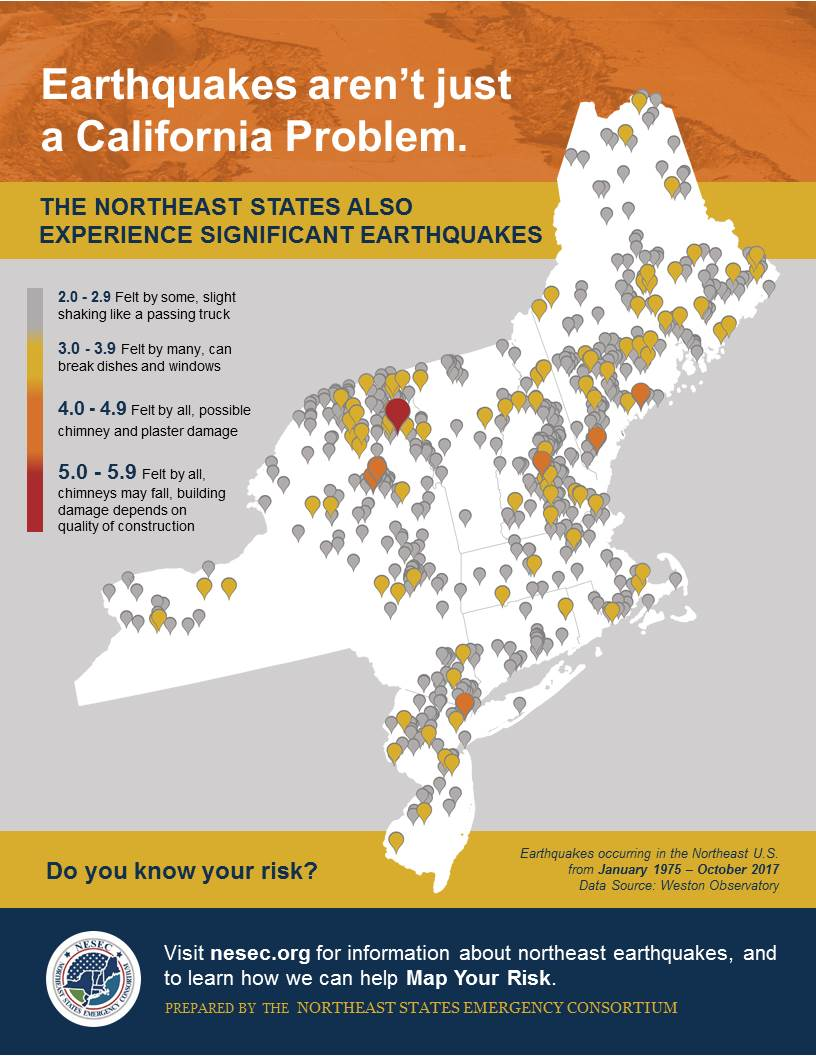 earthquakes aren t just a california problem for information on earthquakes in the northeast and to learn the earthquake history of your state
