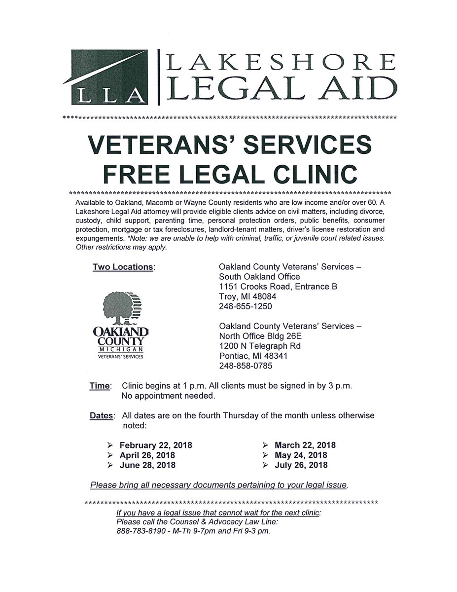 Lakeshore legal aid michlegalaid twitter two locations troy and pontiac clients must be low income or age 60 and older no appointment necessary please bring all documents pertaining to your solutioingenieria Choice Image