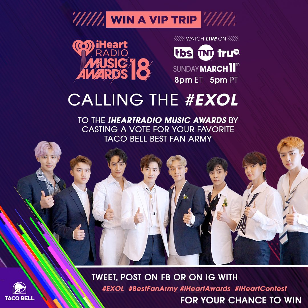 RT to let all of #EXOL know! Today is YOUR @tacobell #BestFanArmy voting spree day! #iHeartAwards