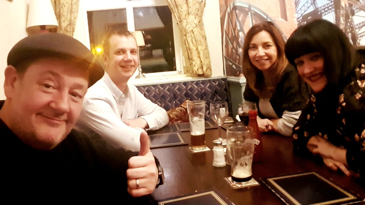 So @WoolybackProd 's 1st AGM of 2018 a great success despite @thecolliersarms running out of lamb ;)  1st order of business; a Guinness, Larger, large house red & sparkling water for our designated driver  (Sh@celebpae only drinks & walks) 😘 Lovely night, great grub, cheers x