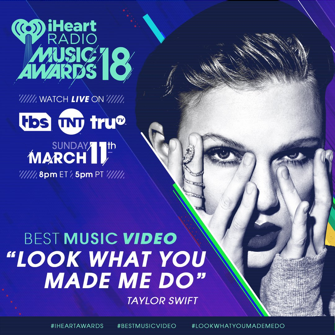 The top 5 for #BestMusicVideo is SO CLOSE.   RT to vote for @taylorswift13's #LookWhatYouMadeMeDo! 💎 #iHeartAwards