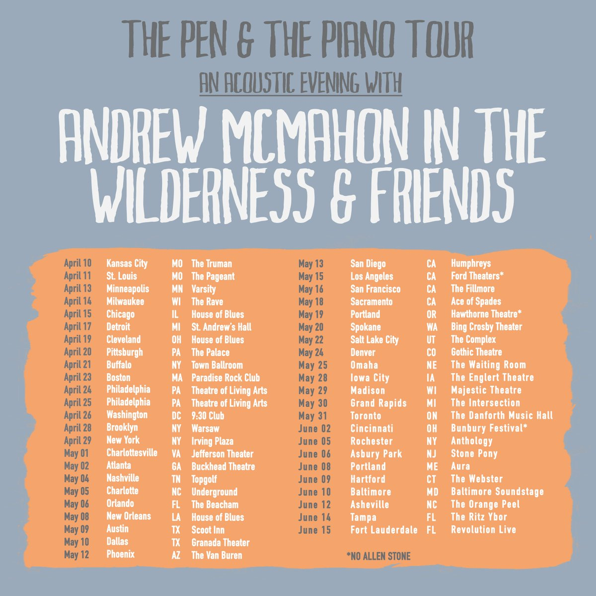 Andrew mcmahon on twitter vip packages include access to the andrew mcmahon on twitter vip packages include access to the soundcheck pizza party one t shirt one exclusive pin set and one screen printed lithograph m4hsunfo