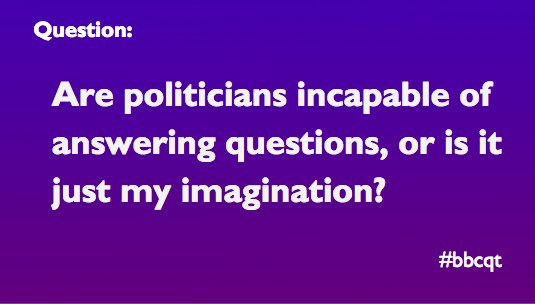 Our final question tonight is on how hard it can be to get answers... #bbcqt