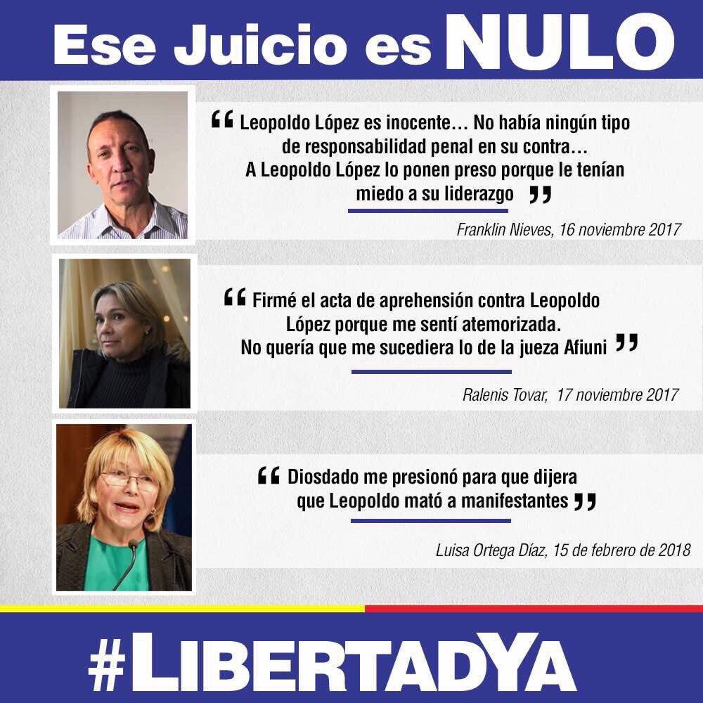 Leopoldo López es inocente y ha sido encarcelado injusta y cruelmente. Todos exigimos su libertad inmediata!