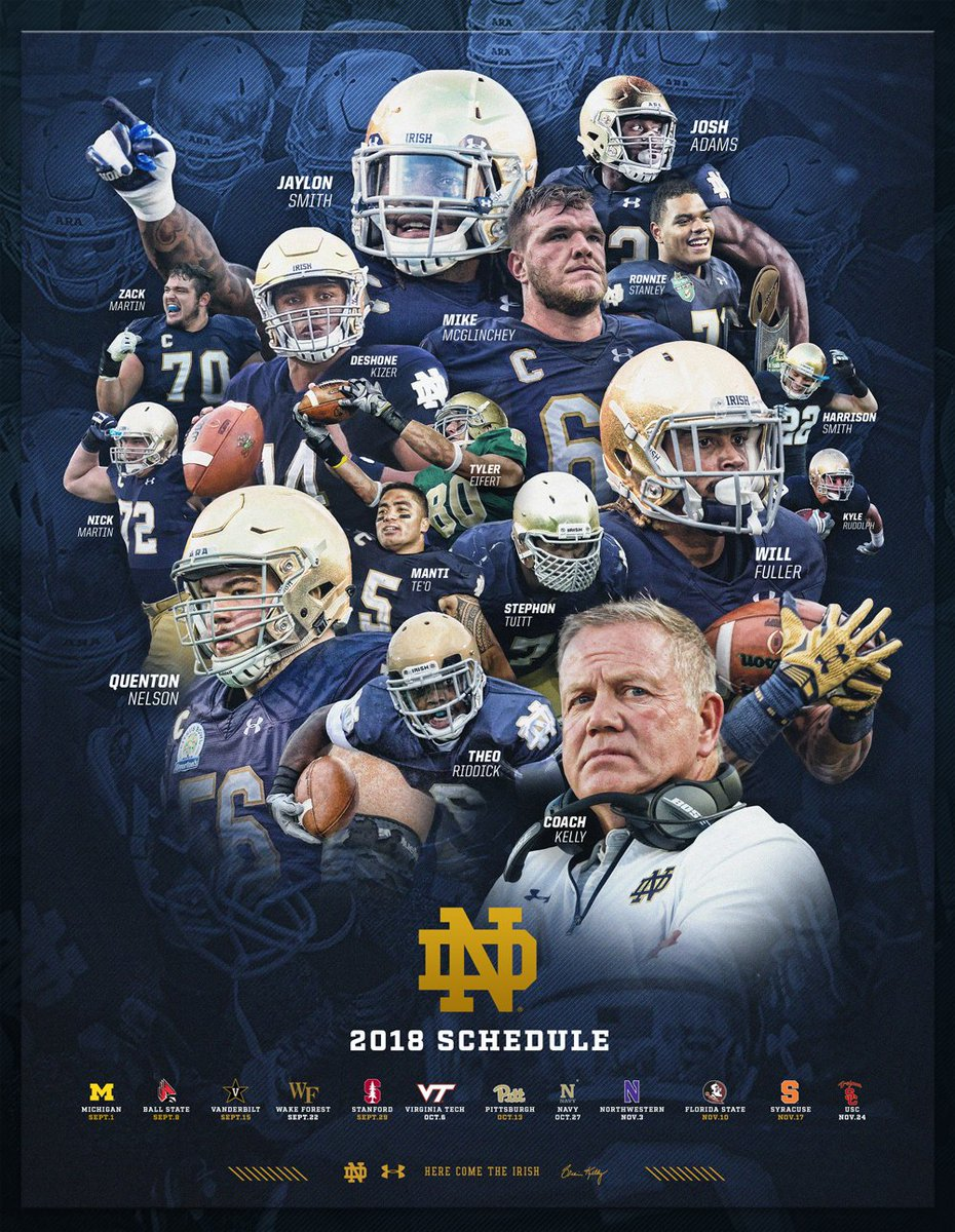 """notre dame football on twitter: """"the 2018 schedule is straight"""