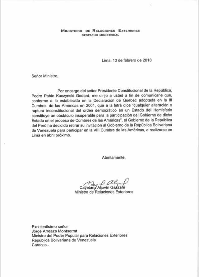 Carta del gobierno del Perú a la cancillería de la dictadura venezolana: se retira invitación a Maduro a la Cumbre de las Américas. Así o más claro?