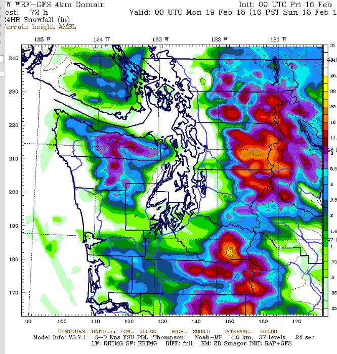 Seattle Weather Blog On Twitter Uw Snowfall Map For Sunday Calls
