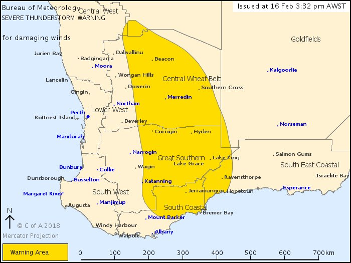 🌩️The severe storm warning for WA has been updated.   Damaging winds are likely to affect #Katanning #Merredin #LakeGrace #LakeKing #Ravensthorpe and #SouthernCross over the next several hours. https://t.co/GThJ3nZ8yM https://t.co/zfKAJXoNVp