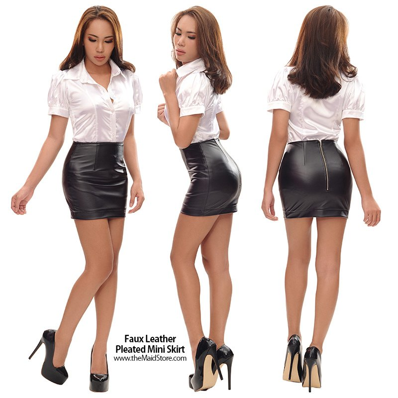 Faux Leather Pleated Mini Skirt #leather...