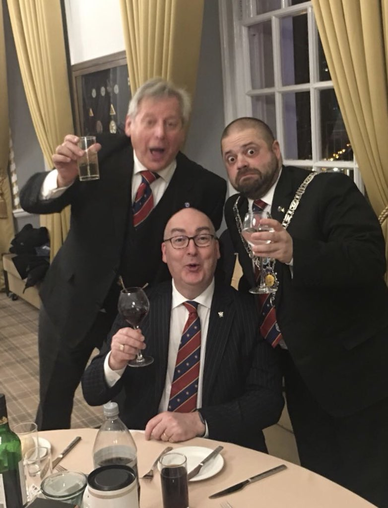 Great night at Zion Menorah Lodge. Double initiation ceremony. My first as WM. This is what it's all about. Picture from L-R WBro Michael Goodman, WBro Martin Roche ProvGSec, WBro Matt Phillips WM #Freemasons #EnoughIsEnough
