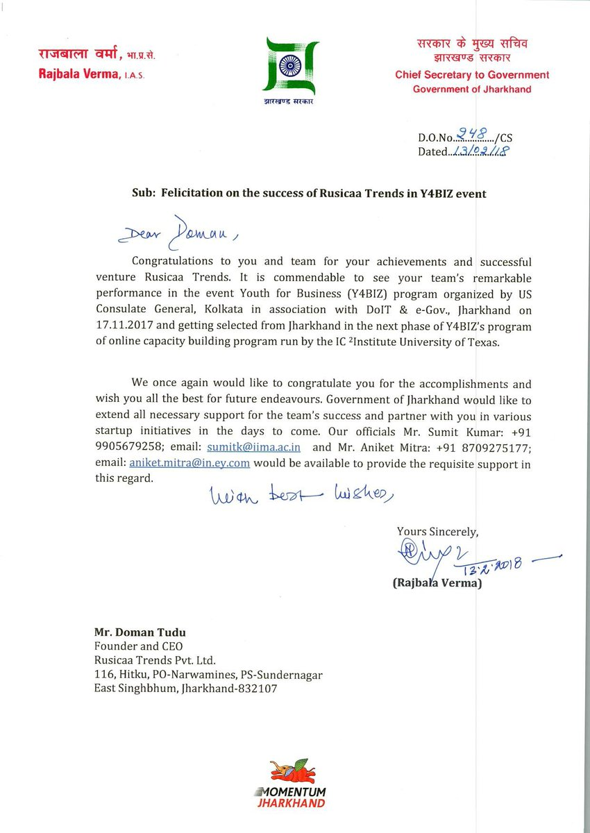 Rusicaa on twitter date 14022018 received felicitation letter rusicaa on twitter date 14022018 received felicitation letter from honorable rajbala verma maam chief secretary government of jharkhand on the altavistaventures Images