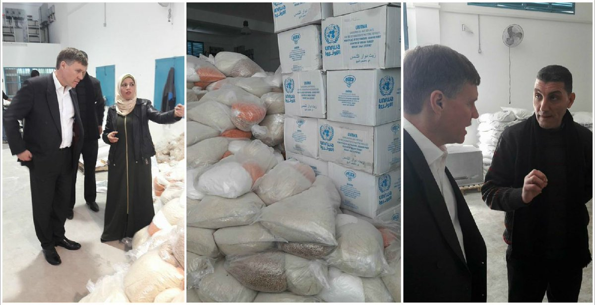 """Impressive #UNRWA distribution centre in #Gaza, delivering 12 truck-loads a day of much-needed food support. Heard from UNRWA staff how funding cuts could threaten distribution of food. 1/2  - Consul General, Mr. Philip Hall after his visit to Gaza this week  @UNRWA"
