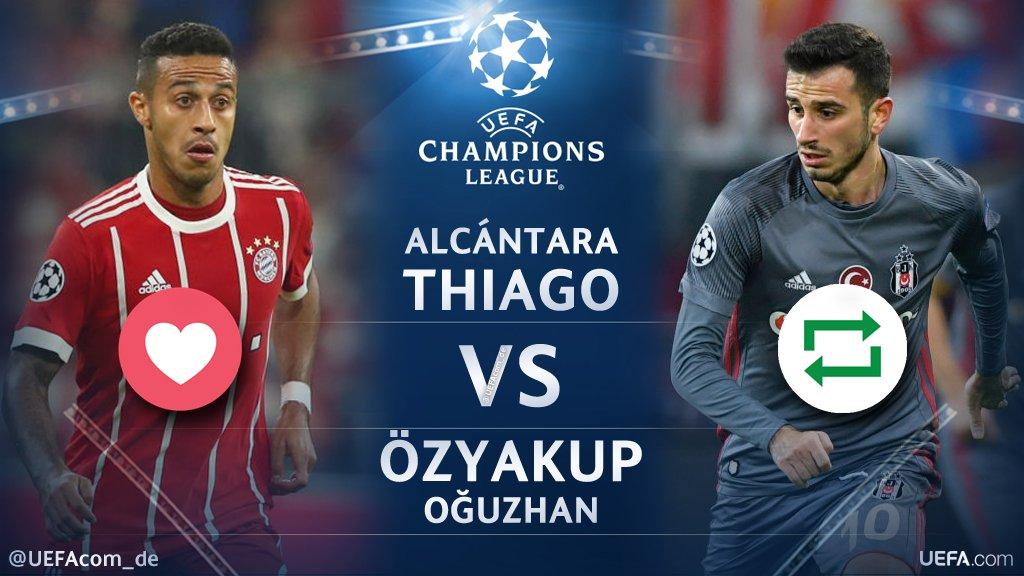 #UCL Countdown 🕘  ❤️ =  @Thiago6 🇪🇸 🔁 = @Ozyakup 🇹🇷  #FCBBJK #BJKFCB @FCBayern #Beşiktaş