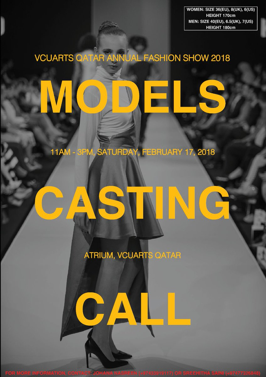 Fashionteria On Twitter Model Casting Call Tomorrow For The Vcuarts Qatar S Annual Fashion Show Fashionshow Fashion Fashiondesign Vcuartsqatar Vcuarts Model Castingcall Vcuq Fashion Designer Vcuqatar Https T Co Yeqlcx8b0c