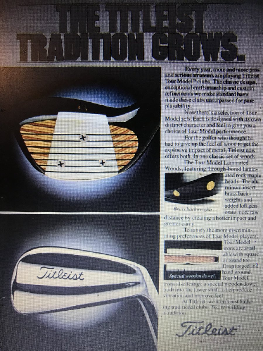 This vintage @Titleist ad claiming 'explosive distance and accuracy' is comical now considering modern technology.  Especially 'Special Wooden Dowel' to enhance feel.  FYI I'd play these irons today, they're beauty's!🤩
