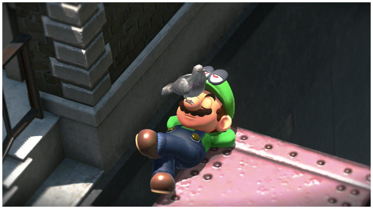 Mario with a pigeon