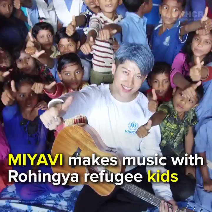 I was really amazed. -#Rohingya children share music and a moment with @MIYAVI_OFFICIAL during his visit to Kutapalong camp in Bangladesh.