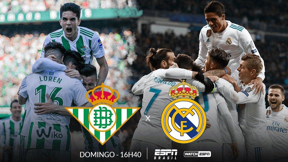 Domingo é dia de Campeonato Espanhol! ⚽🔥 O Real Betis enfrenta o Real Madrid AMANHÃ, às 16h40, e você assiste AO VIVO e EXCLUSIVO na ESPN Brasil e no WatchESPN! #LaLigaNaESPN
