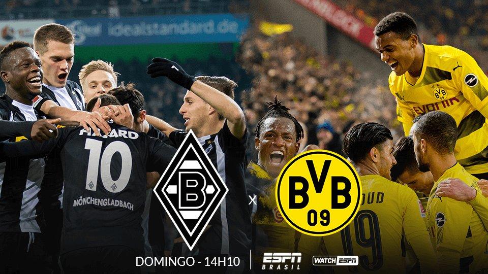 AMANHÃ tem Bundesliga!! 🇩🇪🇩🇪🇩🇪 O Borussia Mönchengladbach recebe o Borussia Dortmund, às 14h10 (Horário de Brasília), e você assiste AO VIVO na ESPN Brasil e no WatchESPN!  #BundesligaNaESPN