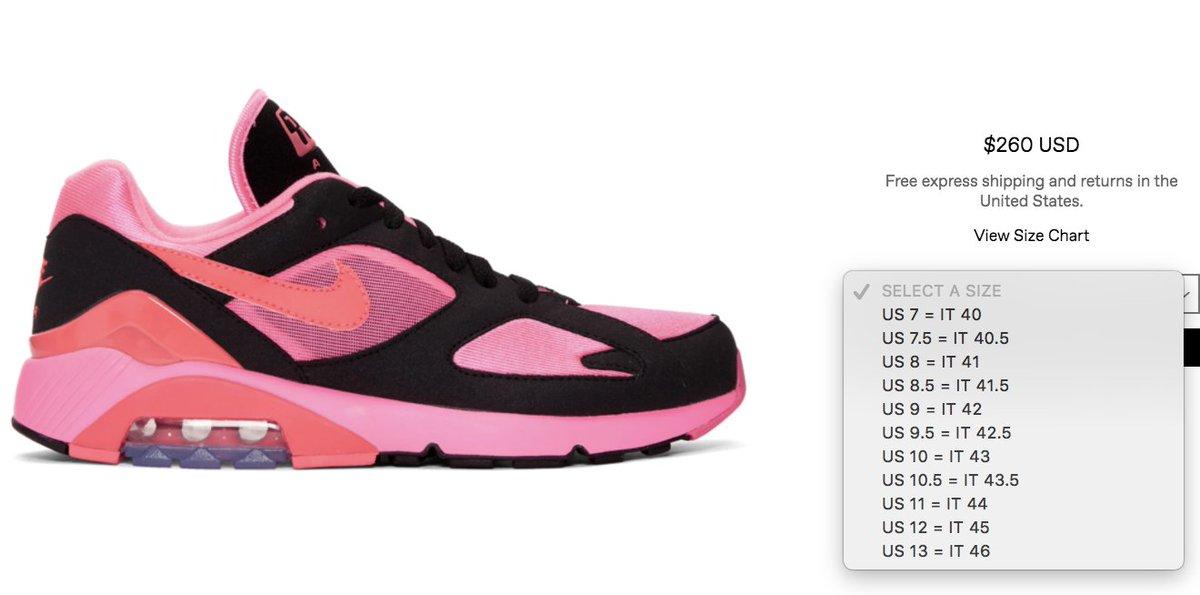 17fd75833d6 ... Garçons x Nike Air Max 180 Pink Black    http   bit.ly 2FbRgBe  Pink Solar Red    http   bit.ly 2GiguwQ White Laser Pink     http   bit.ly 2Ewxljc Sizes ...