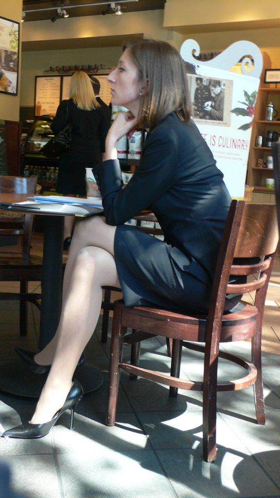Candid Office Sits With Her Legs