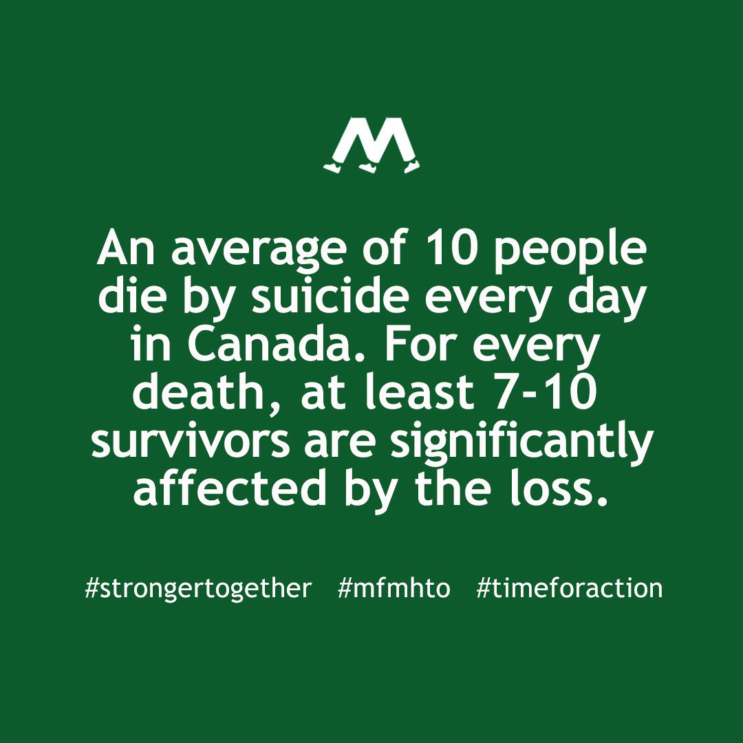 test Twitter Media - RT @MFMHTO: 10 people die by #suicide every day in Canada.   #mfmhto #timeforaction #StrongerTogether https://t.co/2J9yt077qs