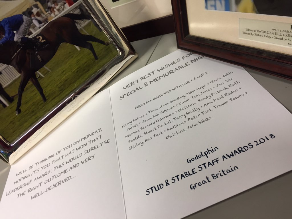Thank you Let's Go Racing partnership for your kind good luck card ☘️ I am very excited and extremely grateful to @RichardFahey  for nominating me, there are so many unsung heroes 🌟@godolphin @BHAPressOffice #StudAndStableStaff